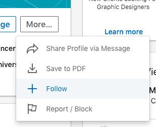 Función para seguir a un usuario en LinkedIn