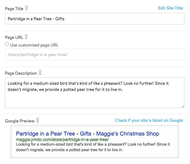 Ajustes SEO de Jimdo Creator para personalizar los títulos y las descripciones de las subpáginas de productos.
