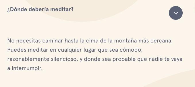preguntas frecuentes en el sitio en español de Headspace