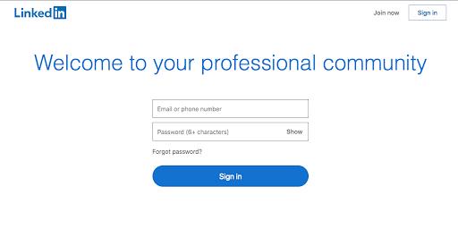 Pantalla de bienvenida de LinkedIn para iniciar sesión
