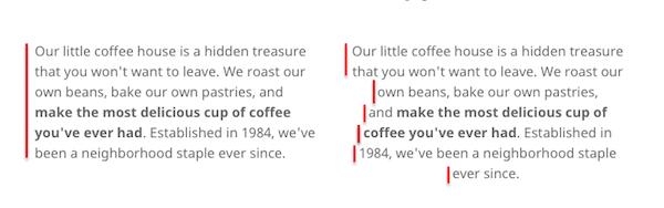 Ejemplos de webs con alineaciones de texto correcta e incorrecta,