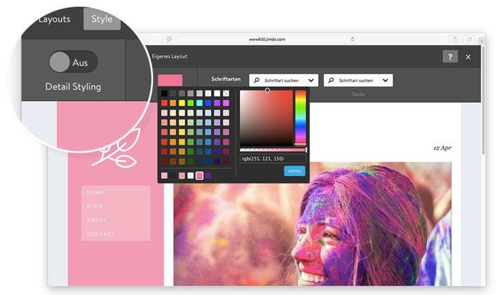 Ajustes de estilo para editar los colores en el creador de páginas web de Jimdo Creator.