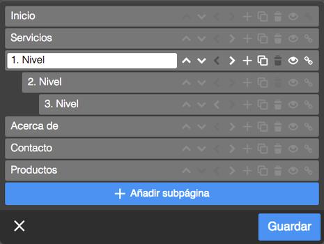 Al editar el menú de navegación encontrarás todas las opciones