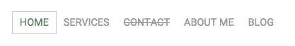 Menú de navegación de una página Jimdo Creator con una subpágina oculta.