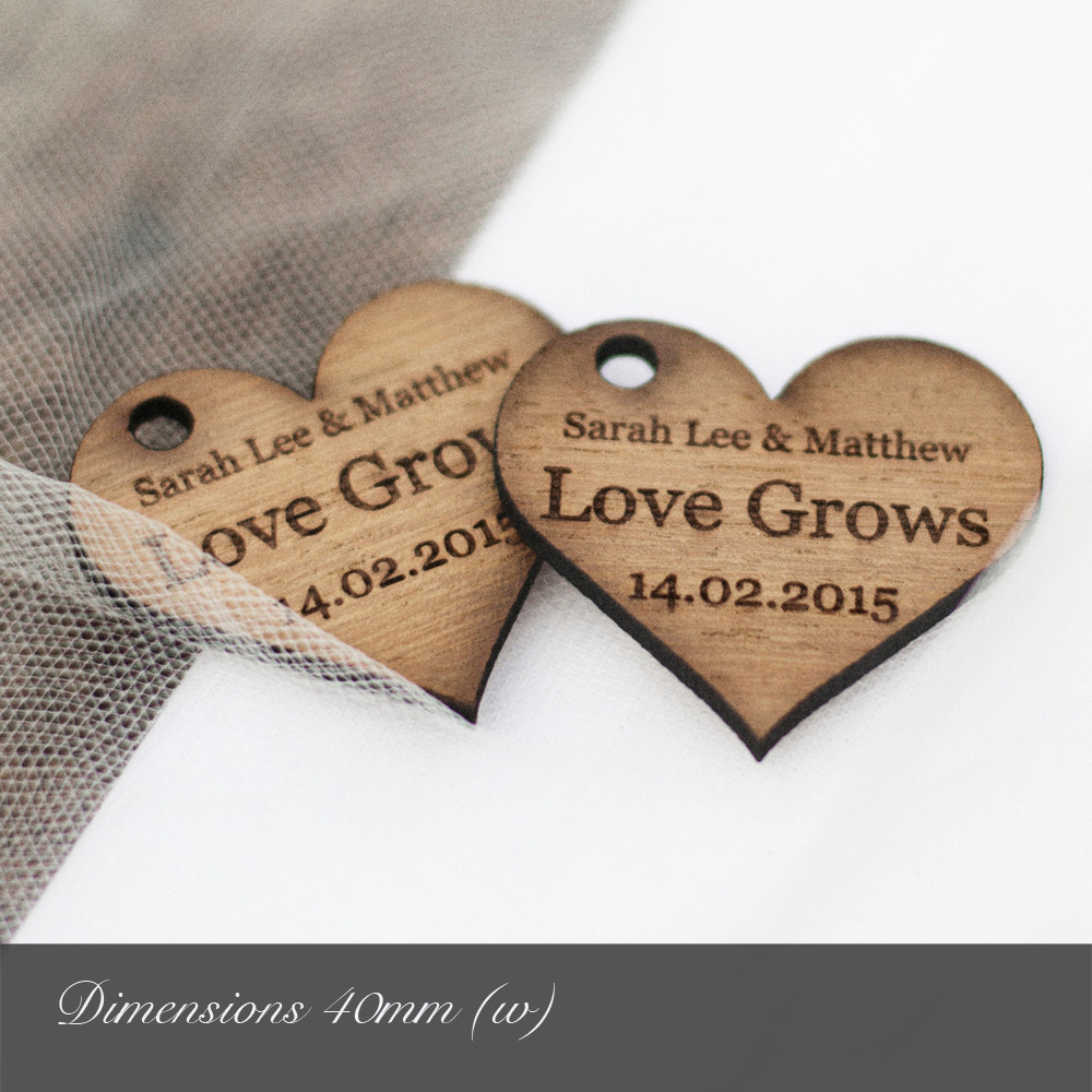Personalised 40mm Wooden Heart Decorations Dark Hardwood Rustic Charm