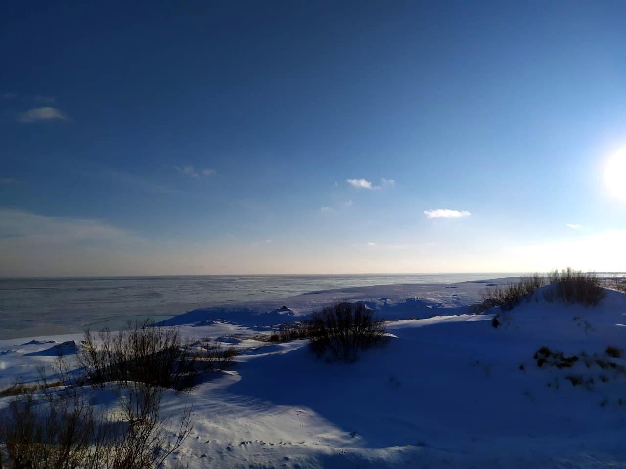 Blick auf die Dünen, das Kurische Haff im Hintergrund