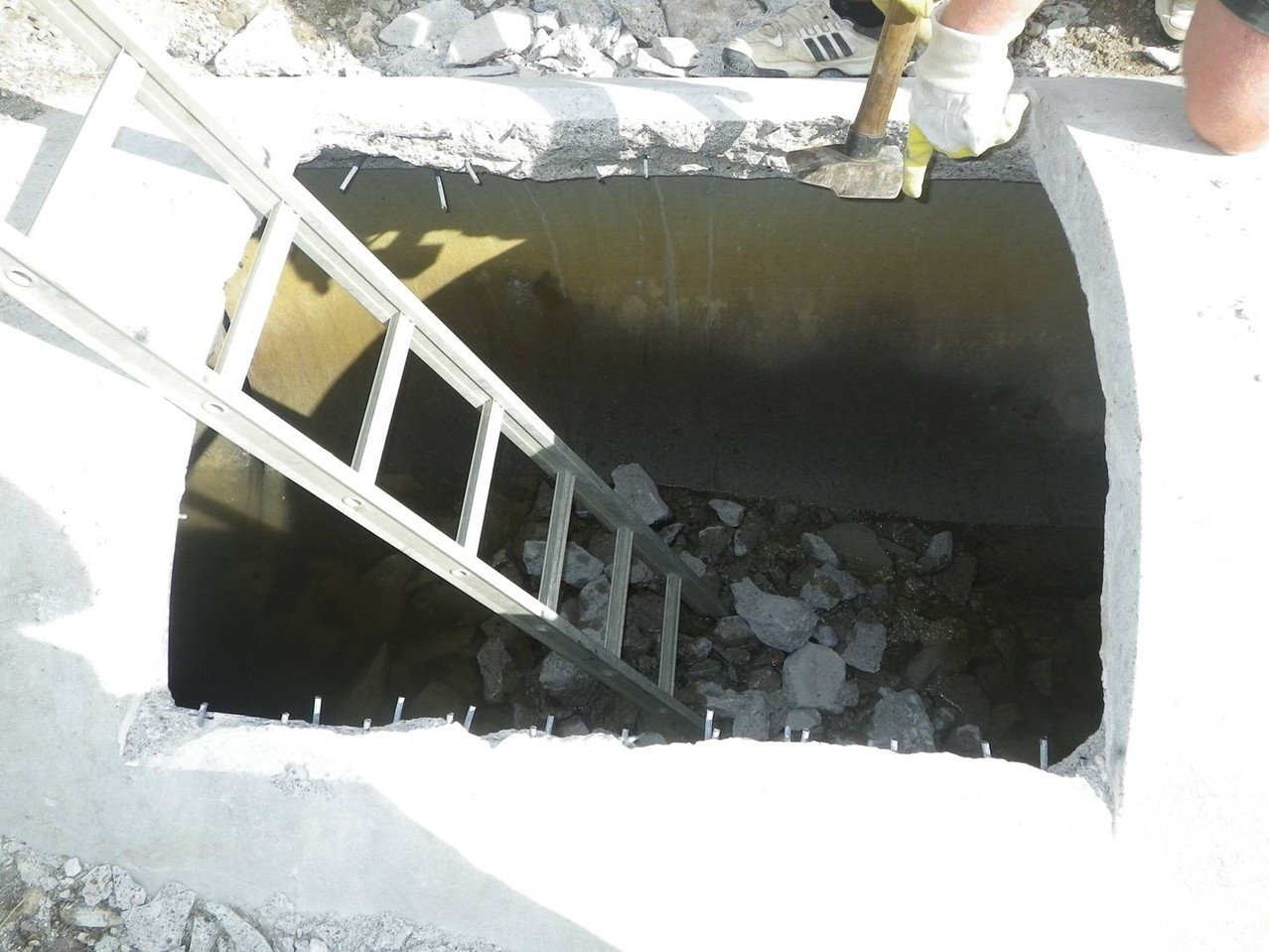 Perçage du busage et extraction des gravats
