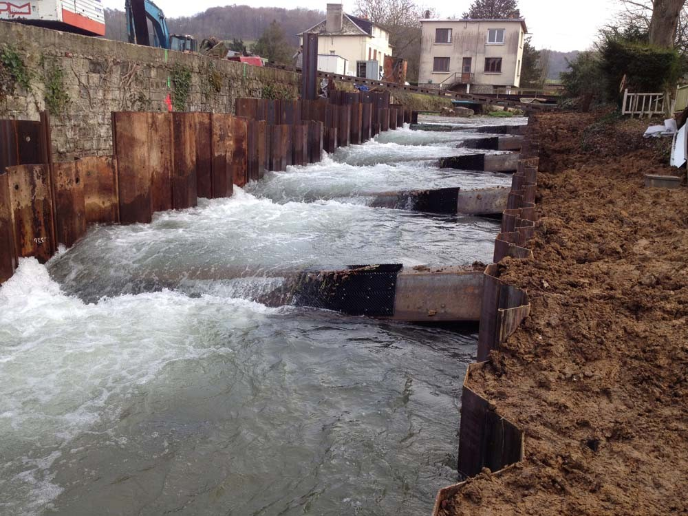 Basculement du débit vers la partie de l'aménagement déjà réalisée