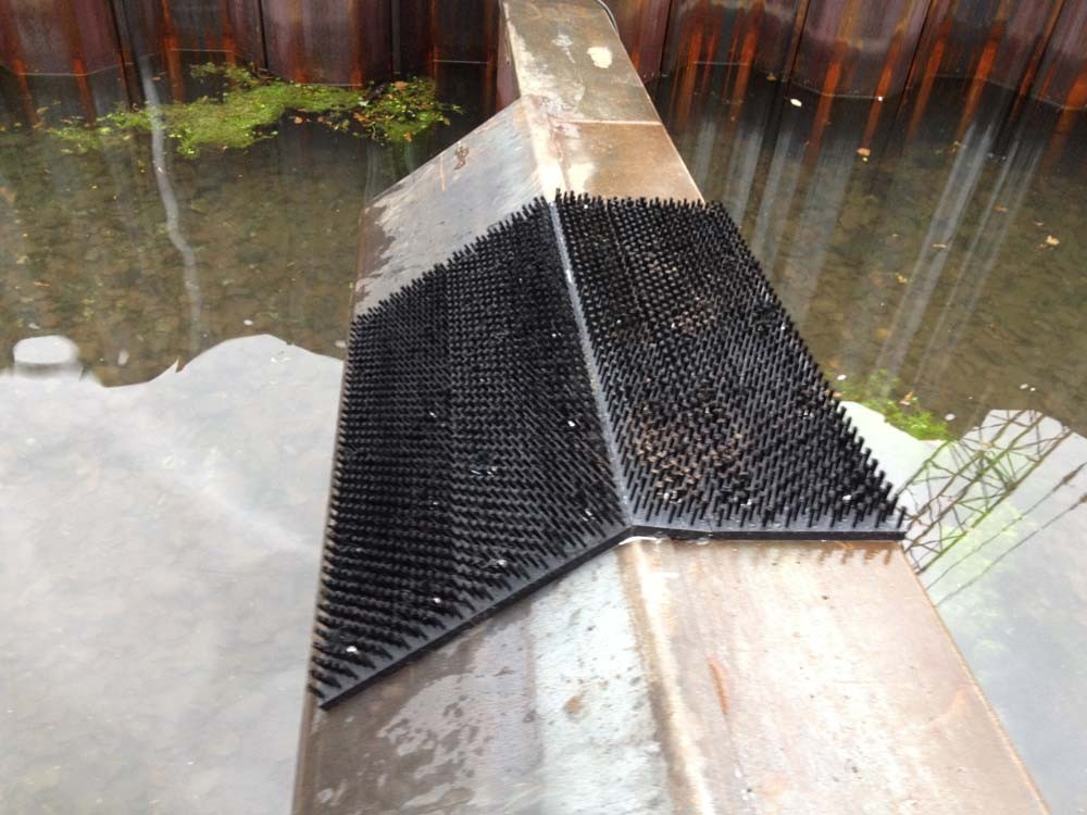 Brosses à anguilles installées sur chaque seuil