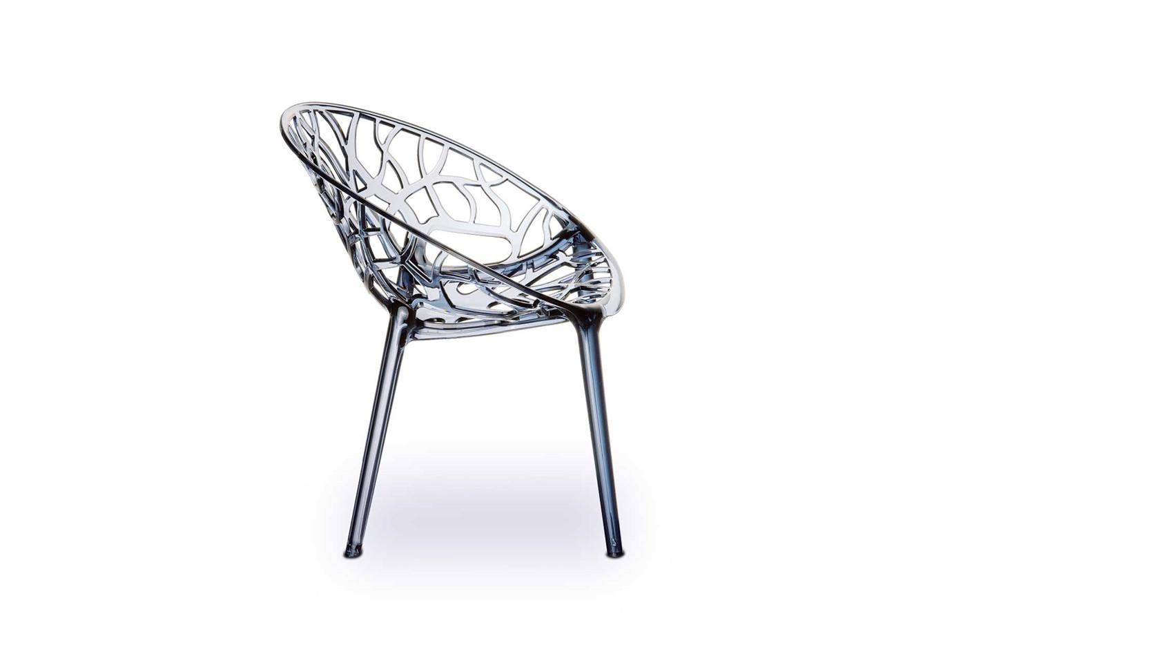 Atemberaubender Acryl Stuhl aus hochfestem Polyamid in Smokey, der Plexiglas Stuhl NATURE...