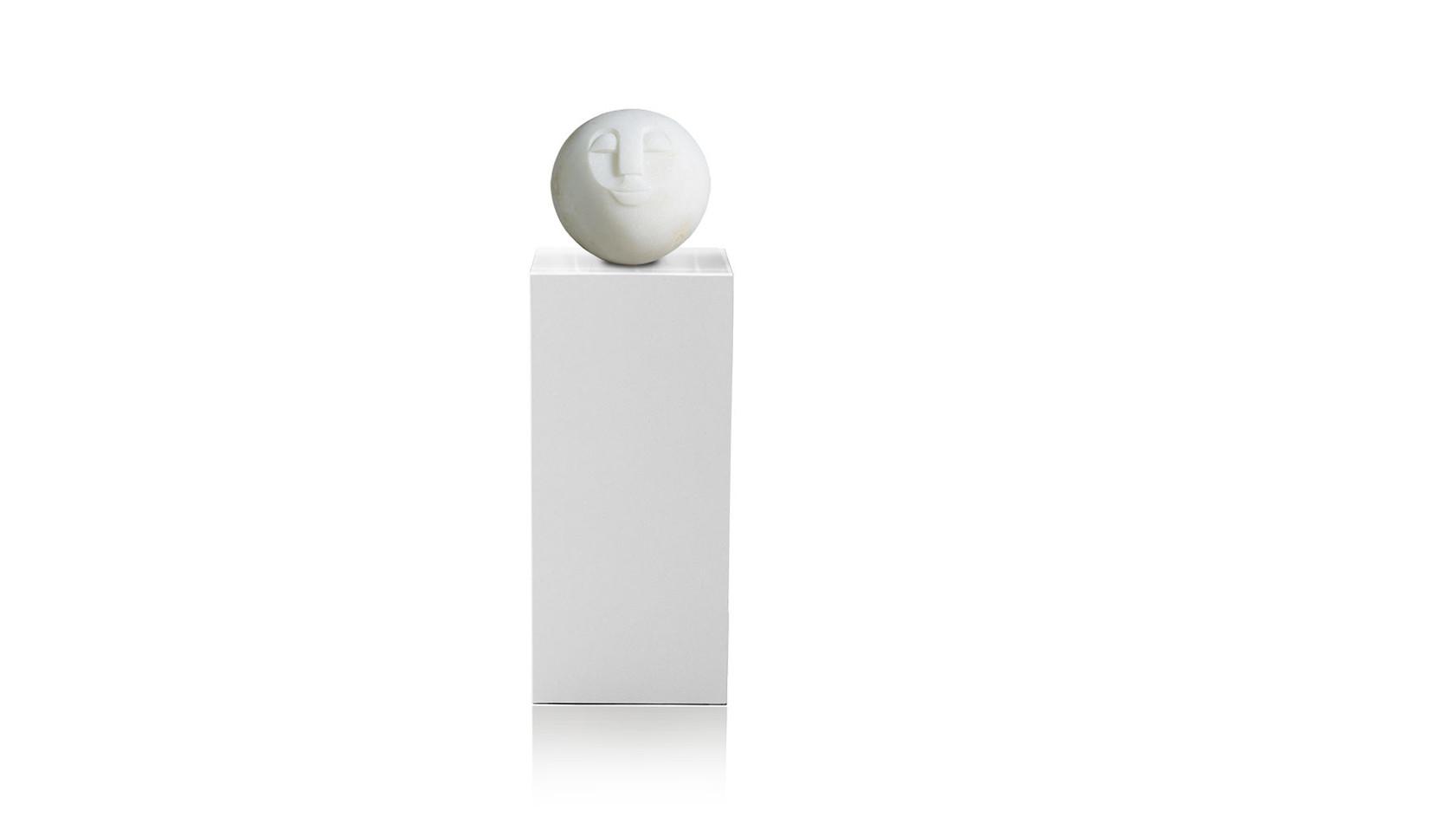 """Shona Art Stein Garten Skulptur """"Ball Head"""" handgefertigt aus weißem Dolomite Stein. Unikat."""