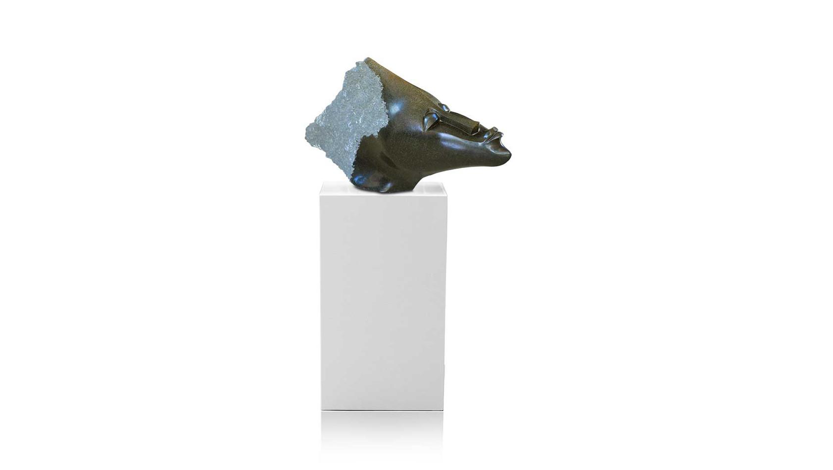 """Große schwere Shona Art Stein Skulptur """"Wasserkopf"""" handgefertigt aus massivem Springstone. Unikat."""