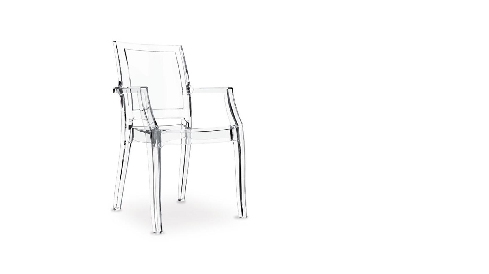 Ghost Plexiglas Acryl Polycarbonat Armlehnstuhl, in transparent Schwarz oder Honig bestellbar.