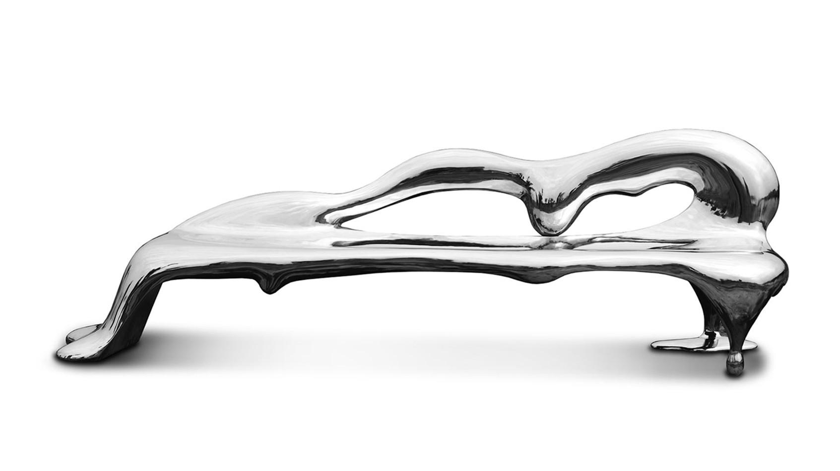 "Edelstahl Sofa Bank Sitzbank ""Flow"" auf Hochglanz poliert. Länge 268 cm. Handarbeit Unikat."
