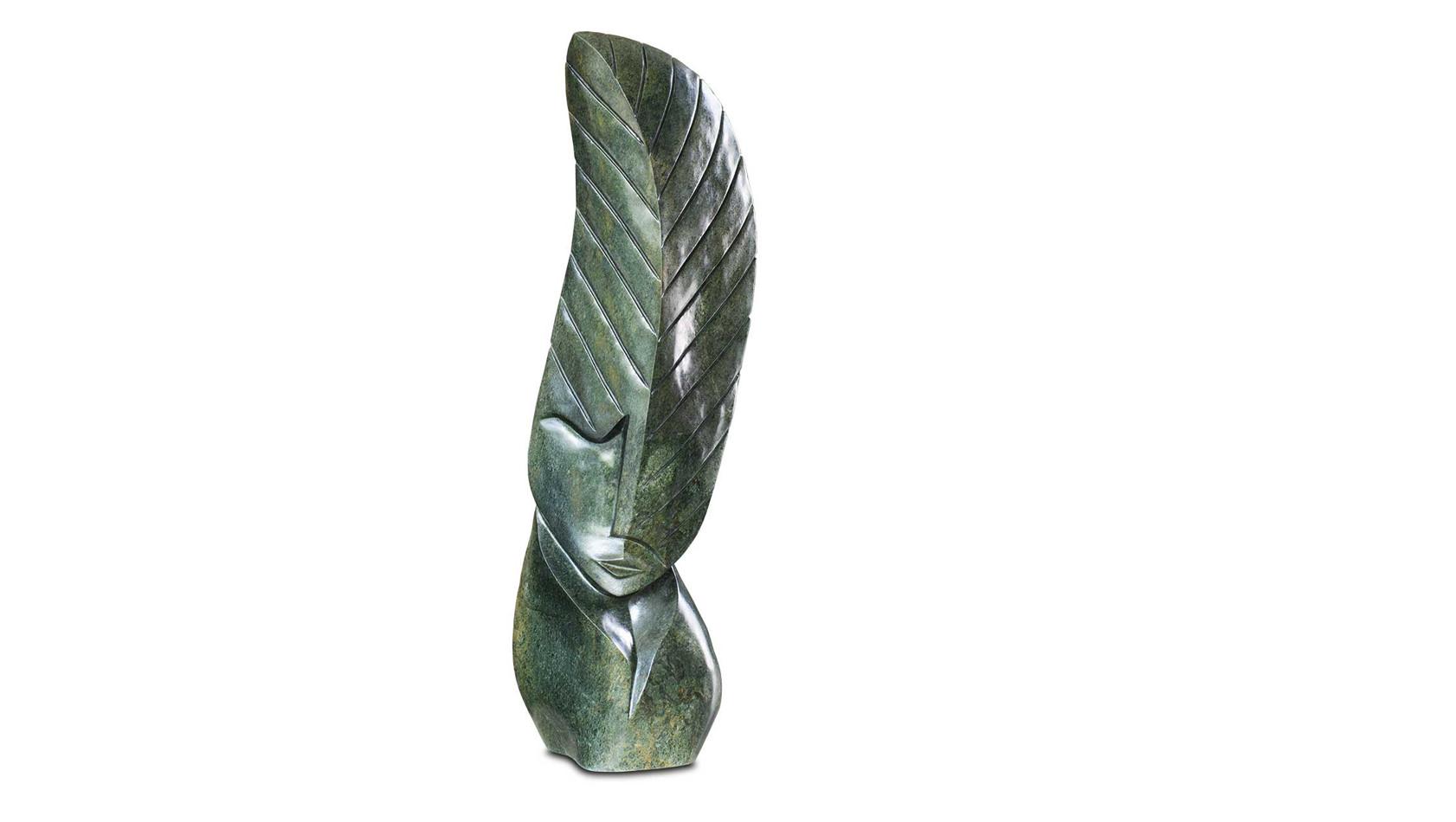 """Große Shona Art Stein Skulptur """"Baum des Lebens"""" handgefertigt aus grünem Serpentine Stein. Unikat, Signiert."""