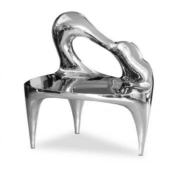 Hochglanz Edelstahl Sitzbank Skulptur Piano Form Unikat Einzelstück
