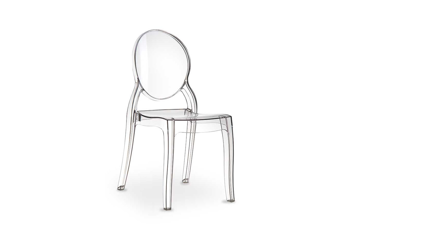 Transparenter Acryl Plexiglas Ghost Stuhl Elizabeth, für Innen und Außen geeignet.