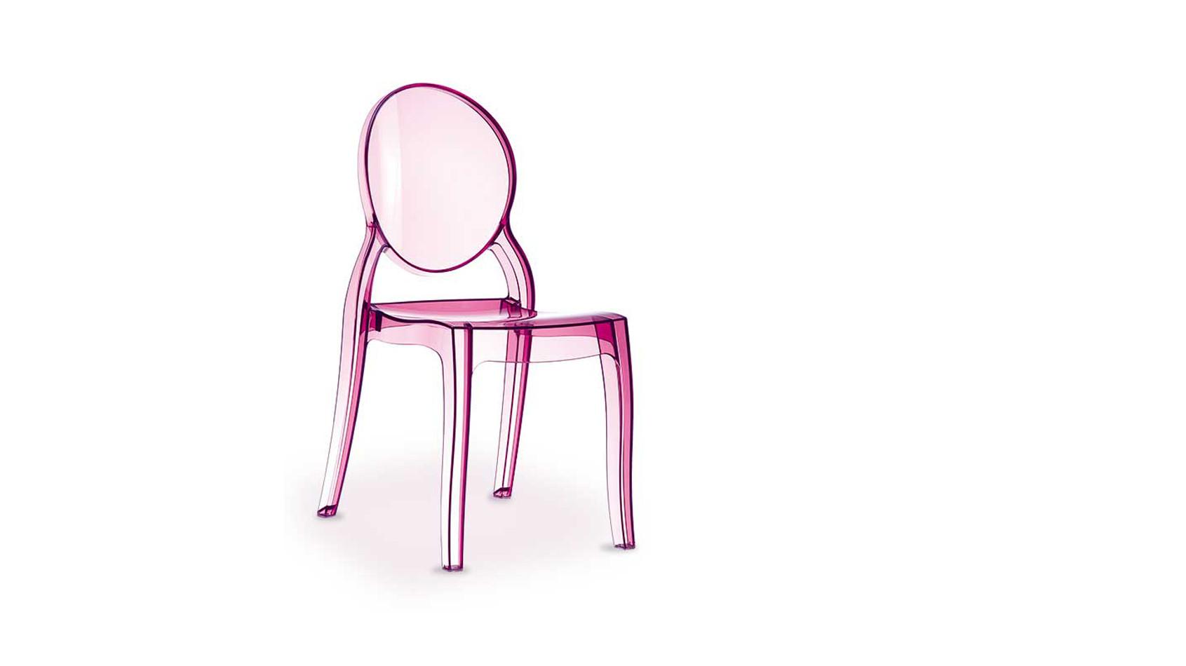 Pink- Rosafarbene transparente Ghost Acryl Plexiglas Stühle, aus hochfestem unempfindlichem Polycarbonat.
