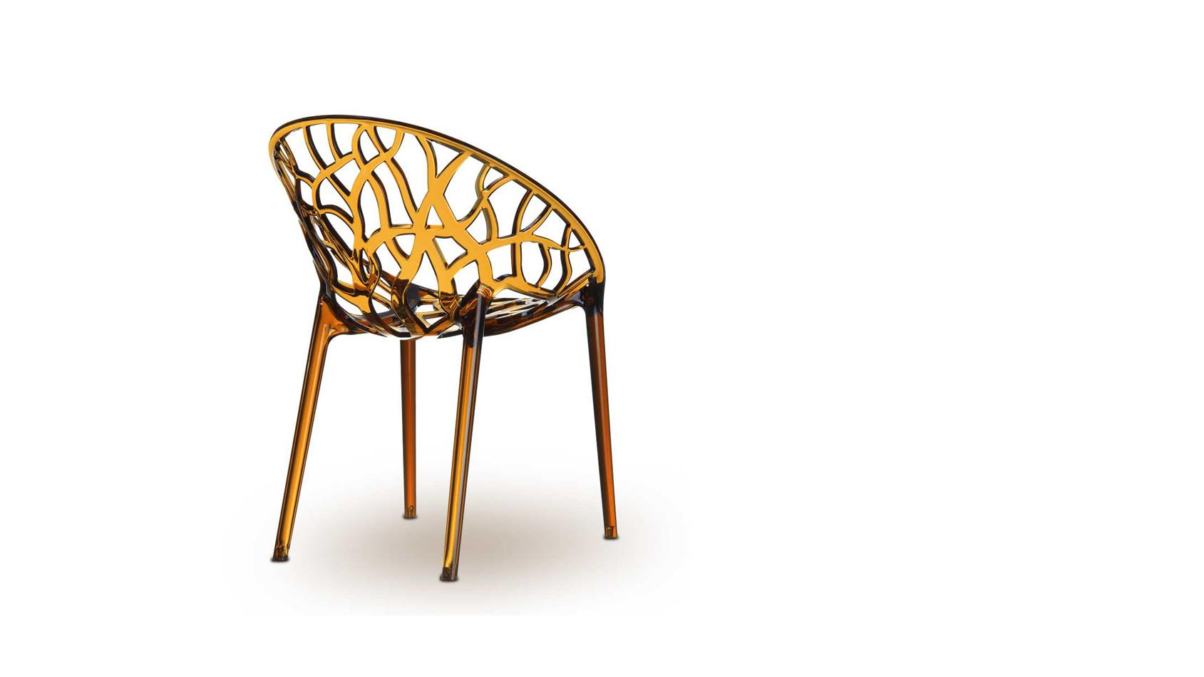 Atemberaubendes Design aus hochfestem Polyamid in Amber, der Plexiglas Stuhl NATURE.