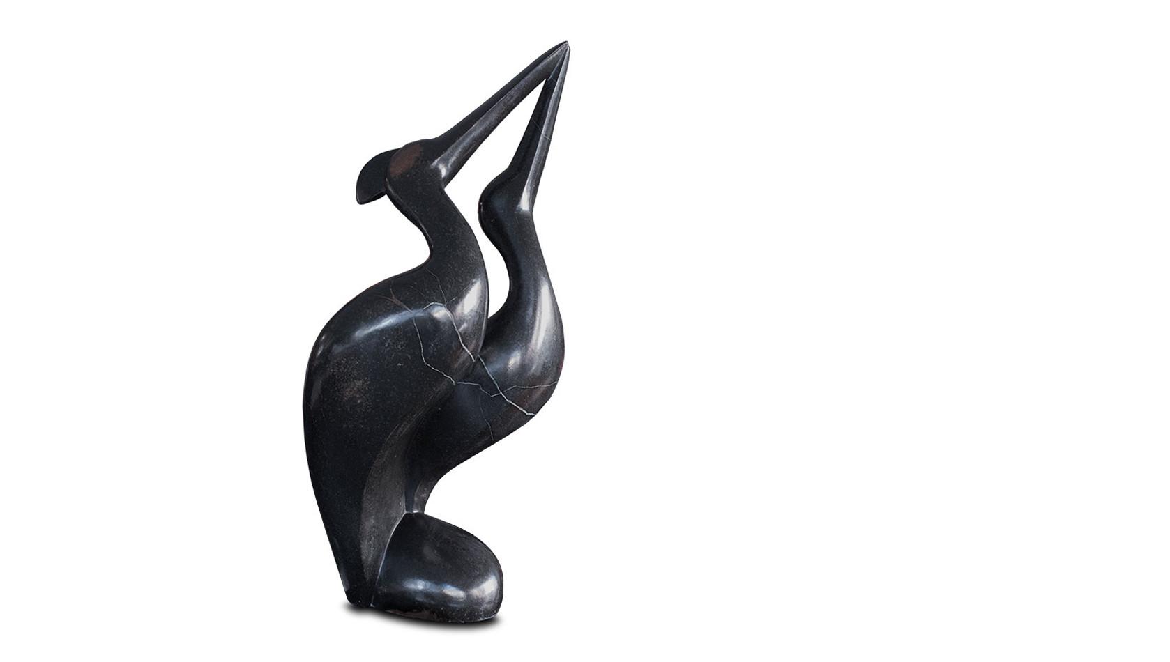 """Große Shona Art Stein Skulptur """"Kraniche in Love"""" handgefertigt aus Springstone. Unikat."""