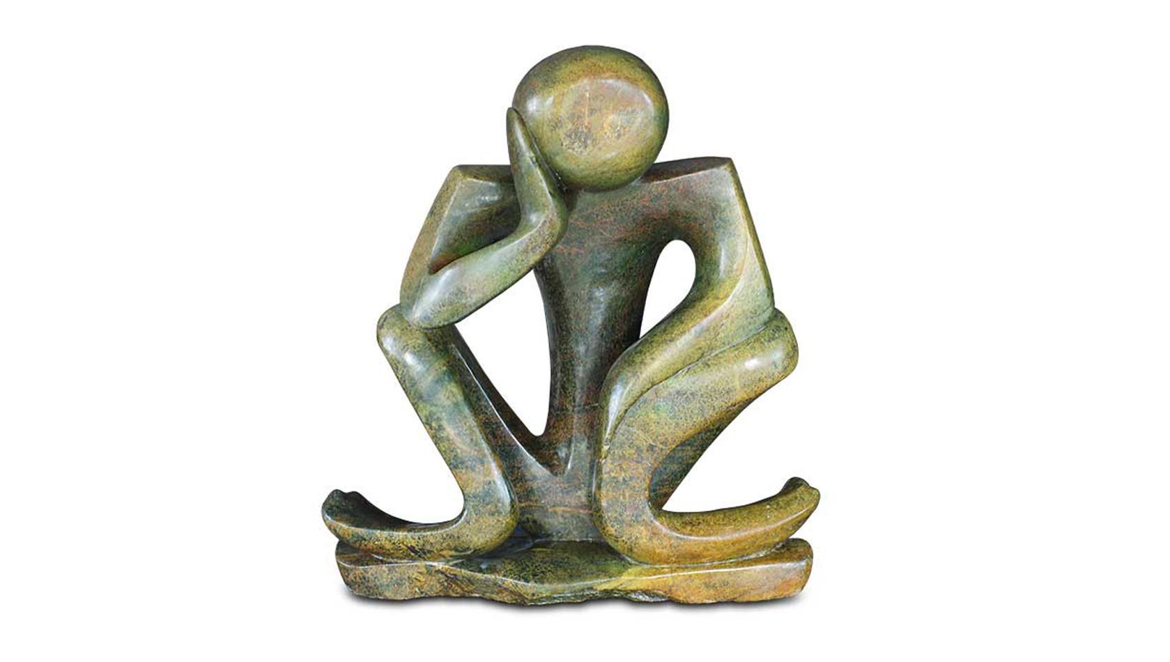 """Shona Art Stein Skulptur """"Thinker"""" handgefertigt aus Fruit Serpentine. Unikat."""