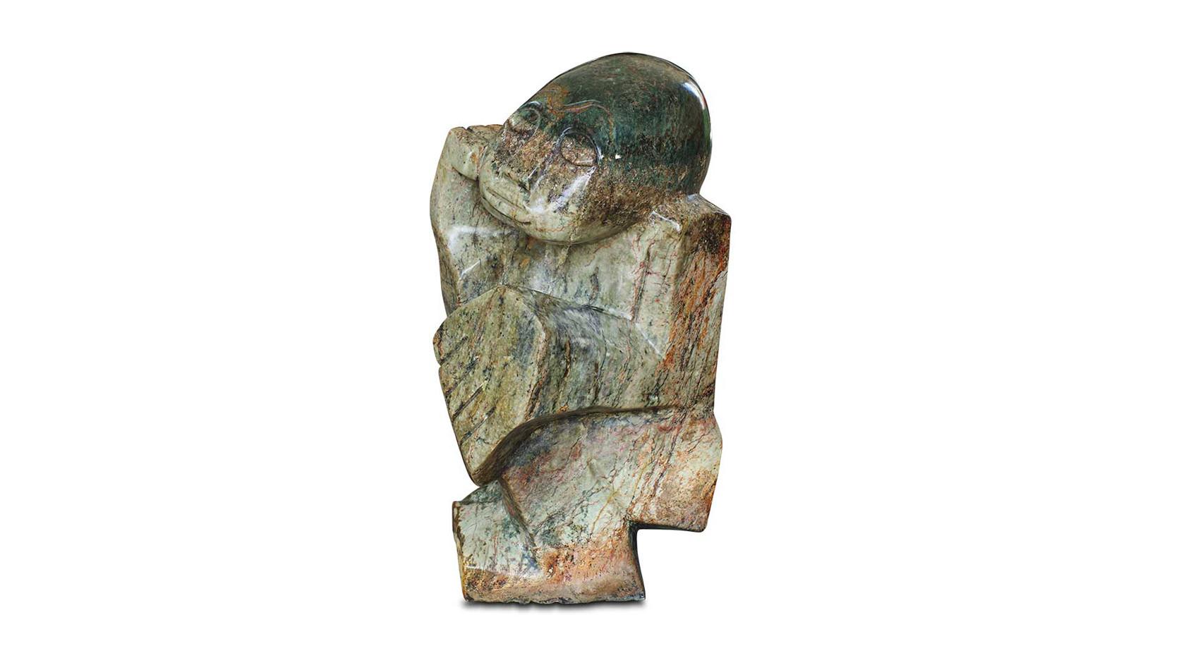 """Wunderschöne Shona Art Stein Skulptur """"Der Dichter"""" handgefertigt aus Fruit Serpentine. Unikat."""