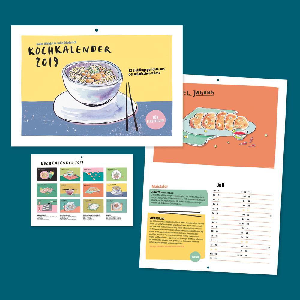 Food-Illustration, Illustration, Kochkalender, Rezepte, Rezeptkalender, Designagentur, Büro Petrol, Anita Hidajat, Hiidee