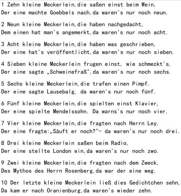 (Quelle: https://deutschelieder.wordpress.com/2016/02/29/zehn-kleine-meckerlein/)