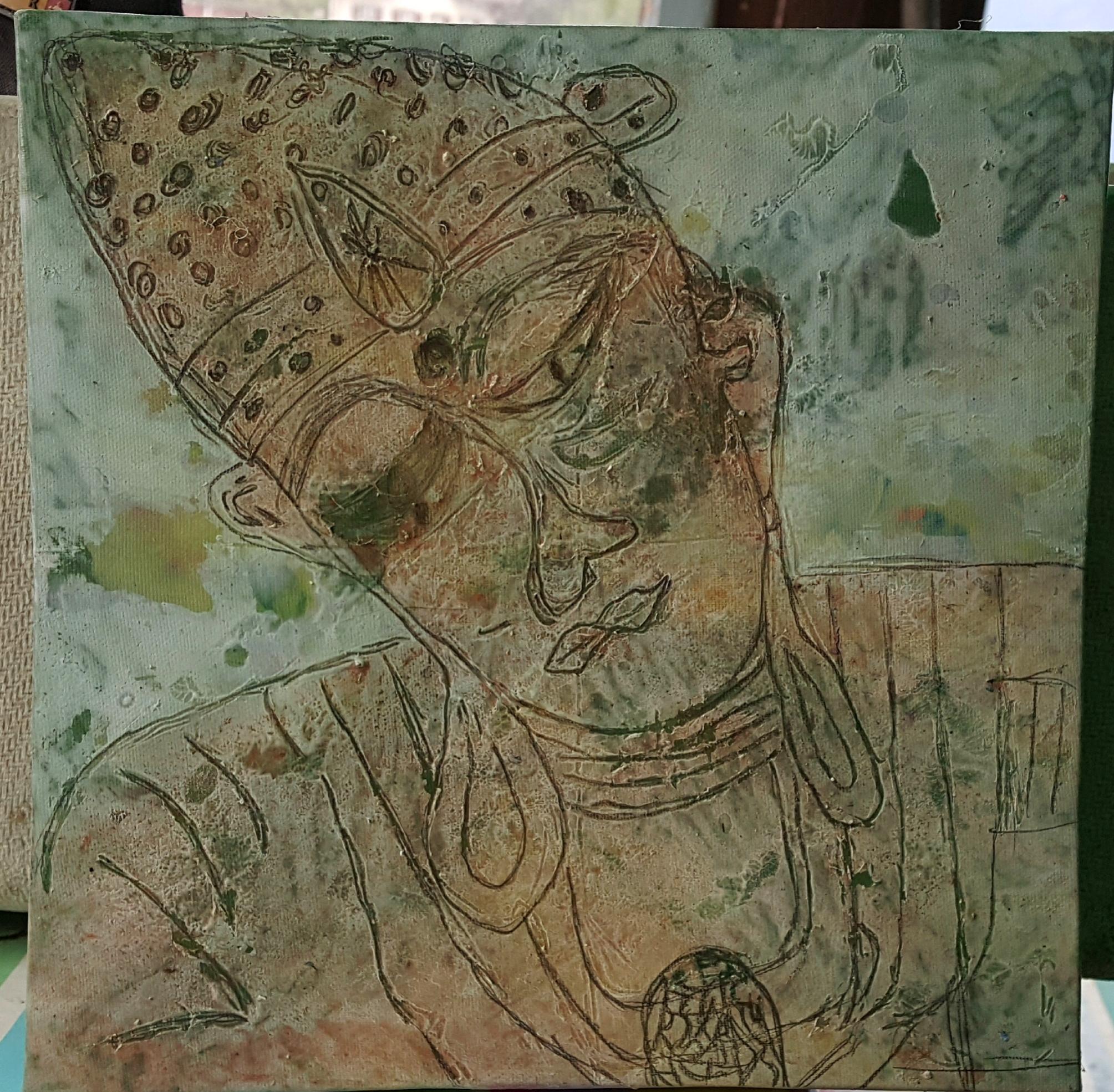 Buddha, synth. Leinwand 20x20cm, Fr. 250.--