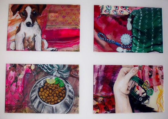 Jack. Vier Motive à 37 x 24 cm zeigen, was ein zivilisierter Hund braucht. Acryl auf Papier, 2004.