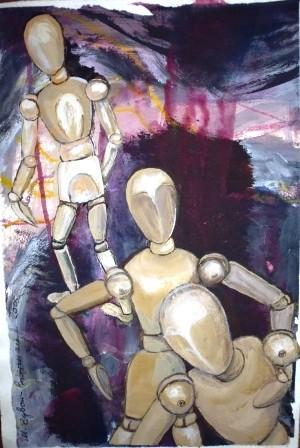 Puppentanz 1, Acryl auf Papier, DIN A 3, 2003