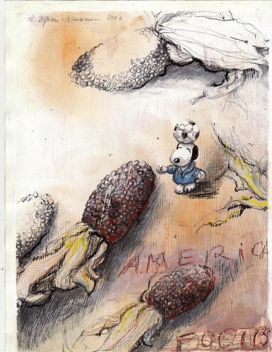 Snoopy ist zwischen die Maiskolben gefallen.