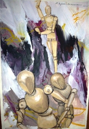 Puppentanz 2, Acryl auf Papier, DIN A3, 2003.