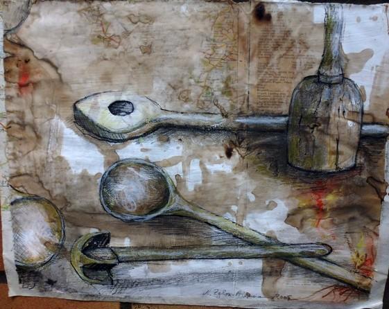 Die Koch-Show kann starten. Aber mit diesem klassischen Holz-Gerät wohl nur in einer privaten Küche. Mischtechnik auf bedrucktem Papier, 40 x 30 cm. 2005
