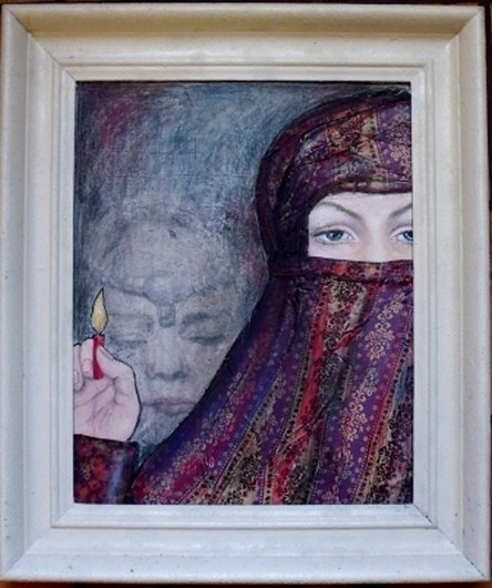 O. Titel, Acryl auf Malplatte, 40 x 50 cm. 2013