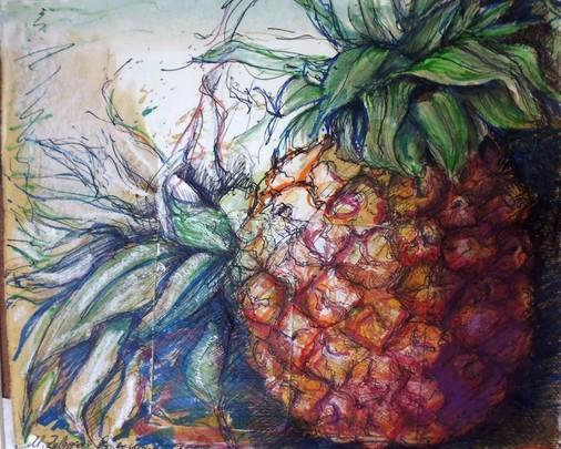 Weit gereiste Modelle: Ananas, früher Luxusgut, heute rund ums Jahr erhältliche Massenware. Zeichnung in Mischtechnik von 2003.