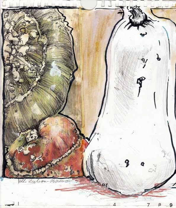 Kürbisse gibt es in allen Formen und Farben. Ab dem Spätsommer schmücken sie Garten und Haus, um im Laufe der Zeit nach und nach aufgegessen zu werden. Zeichnung in Mischtechnik, 2011.