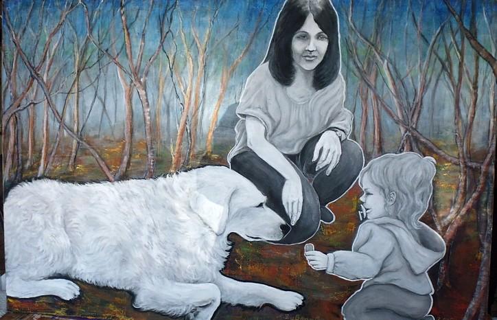 """Ohne Worte: Das war mein Beitrag zur Jahresausstellung """"Wegmarke Dialog"""" der Kunstwerkstatt Sohle 1 Bergkamen. Mutter, Kind und großer Familienhund. Mit Worten ist da nicht viel erreichbar. Acryl auf Leinwand, 100 cm hoch, 160 cm breit, 2015."""