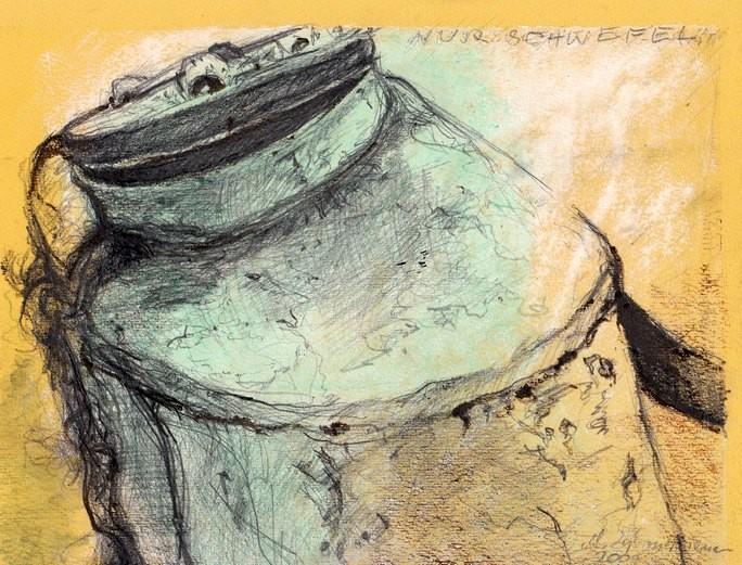 Ein solches Gerät trugen früher Weinbauern auf dem Rücken, wenn sie durch die Reihen der Reben wanderten und Sulfat versprühten. DIN A4, Zeichnung auf farbigem Papier 2004.