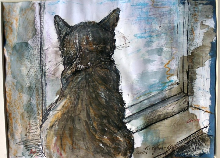 Tiger am Fenster. Aquarell, Tusche, Kreide, 2001.