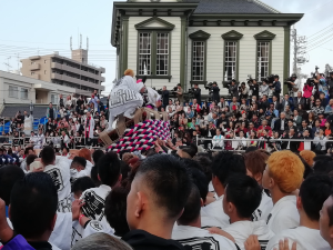 松山秋祭り|愛媛県松山市道後温泉駅前の喧嘩神輿写真画像