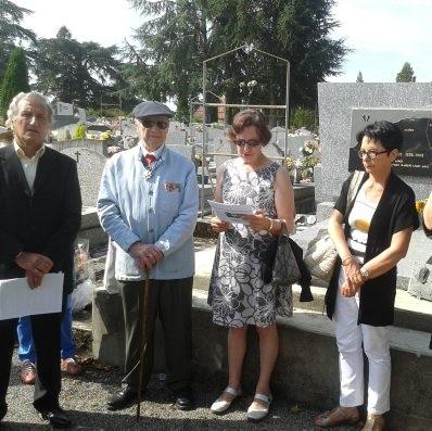 Guy FORZY, lors de l'hommage aux victimes du 5 juillet 1962 à ORAN,  avec le Cercle Algérianiste du Gers,. Photo DDM, juillet 2014, M.A.