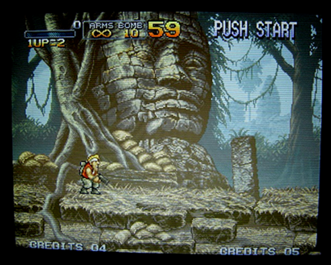 A great picture here, for this Metal Slug running on a CRT.