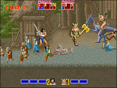 Sega's Golden Axe, a big reference.