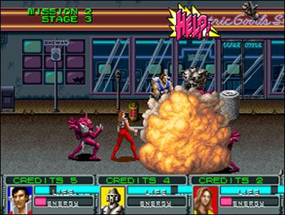 Alien Storm de Sega se joue à trois simultanément.