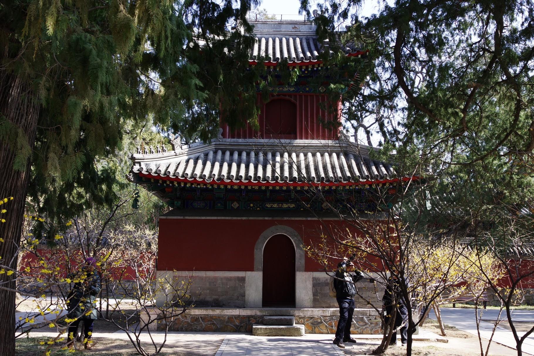 山門と天王殿の間の中庭の左右は鐘楼と