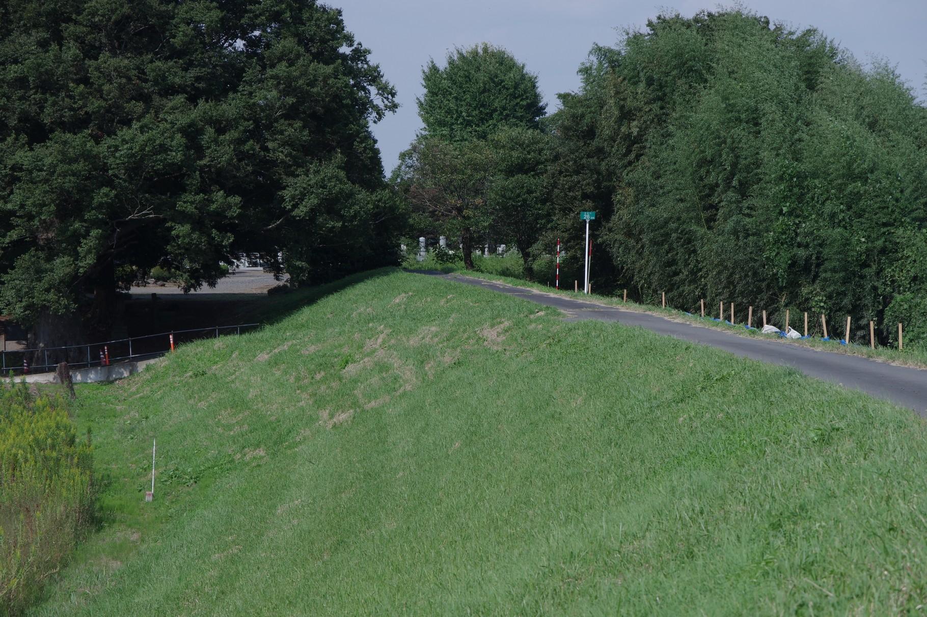 右岸の堤防 26km標識
