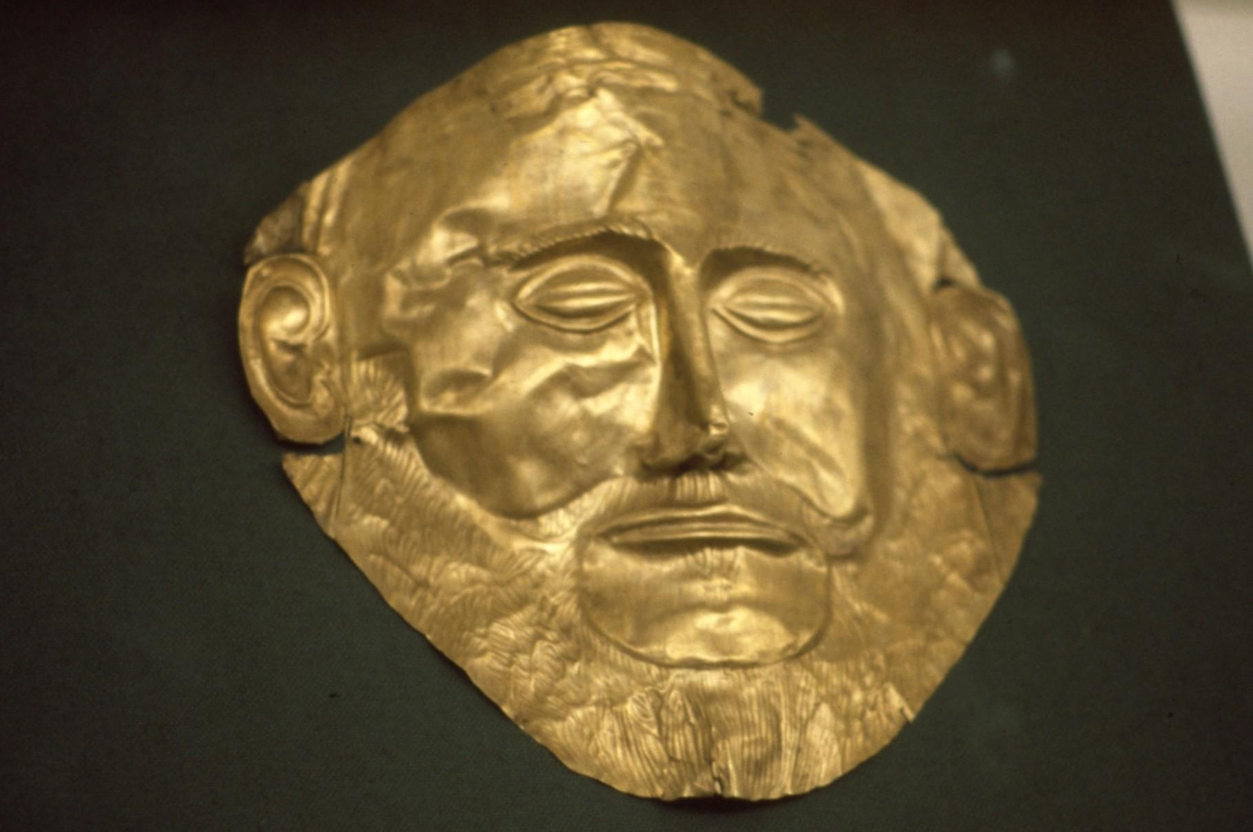 いわゆる「アガメムノンのマスク」(アテネ考古学博物館)