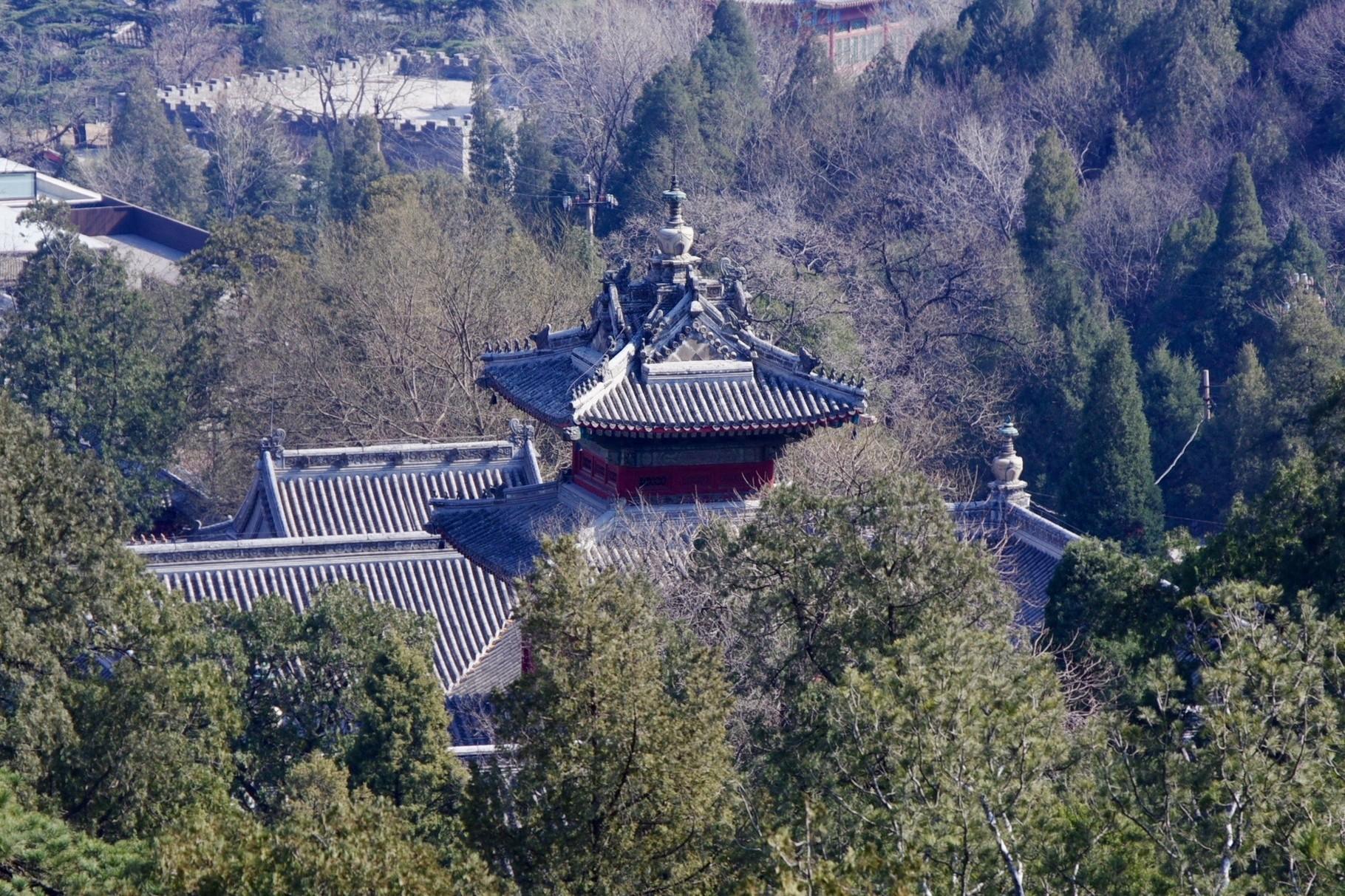 羅漢堂の屋根の舎利塔