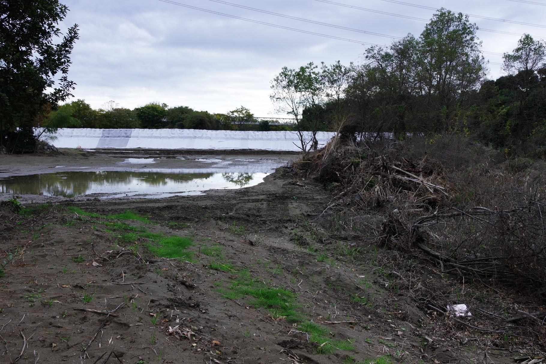 氾濫から2週間後に急造した土嚢の堤防もどき